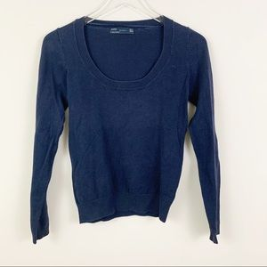 ZARA Medium Blue Scoop Neck Long Sleeve Sweater